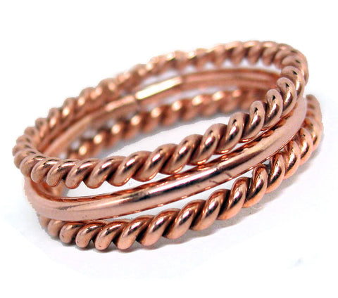 Copper Stacking Rings Trio
