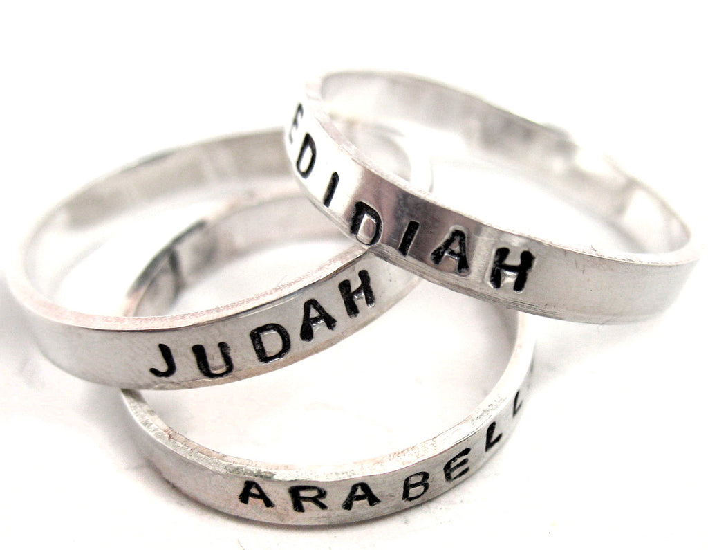 "Custom Sterling Silver Rings - 3/16"" wide with a special name or date"