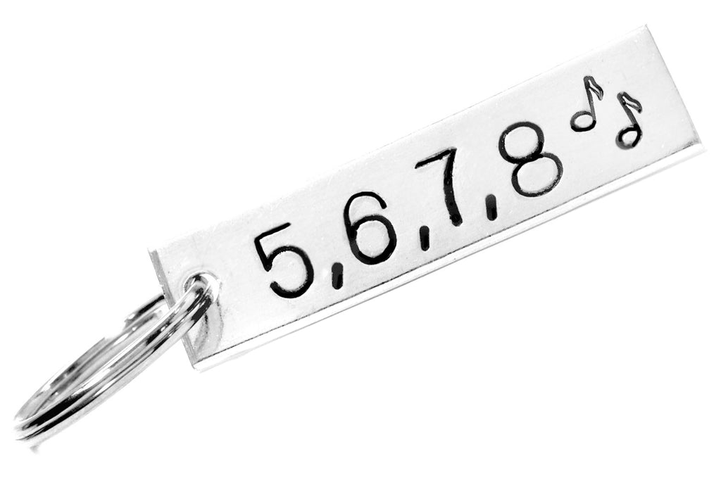 5,6,7,8 - Customizable Dancer's Keychain, Hand Stamped Aluminum Keychain