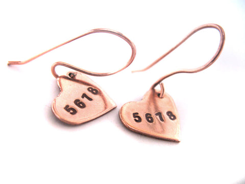 Dancer's Heart Earrings - 5,6,7,8 - Handstamped Shiny Copper