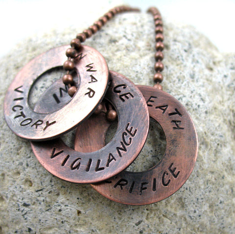 Dragon Age Inspired Necklace - Antiqued Copper Handstamped Washer Pendants, Grey Warden