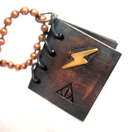Deathly Hallows Book - Antiqued Copper Necklace