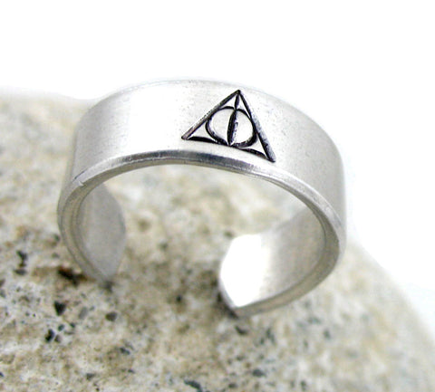 Deathly Hallows Symbol - Hand Stamped Aluminum Ring