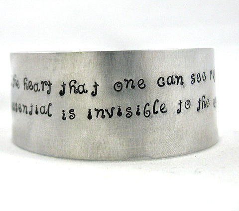 The Little Prince Heart's Sight Quote - Aluminum Cuff