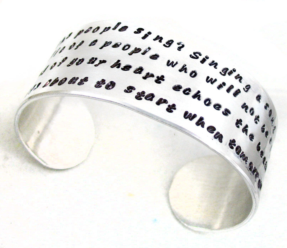 "Custom 1"" Wide Hand Stamped Aluminum Cuff - with YOUR Favorite Quote, Phrase, Etc., Personalized for You"