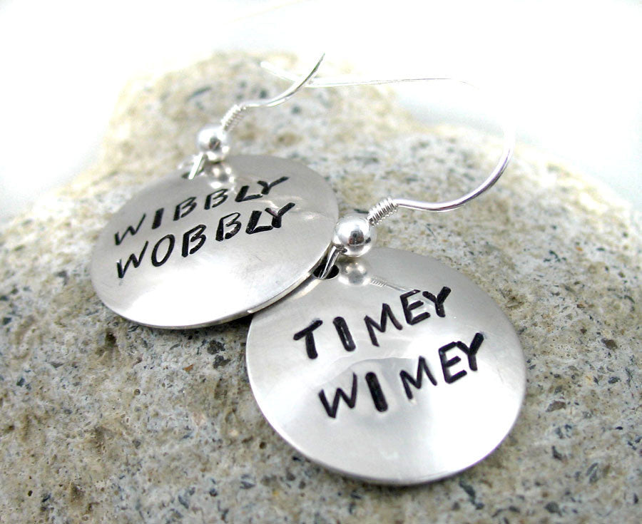 Wibbly Wobbly Timey Wimey - Sterling Silver Earrings
