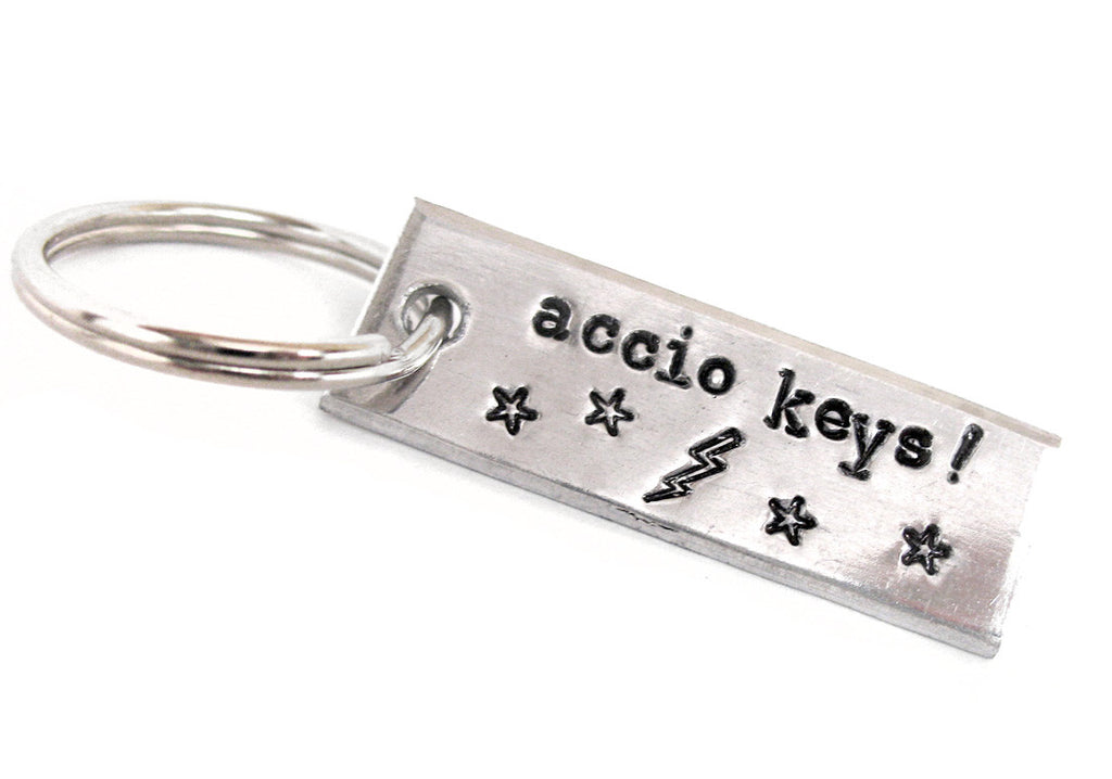 Mini Accio Keys Keychain - Harry Potter Inspired Hand Stamped Aluminum Key Chain