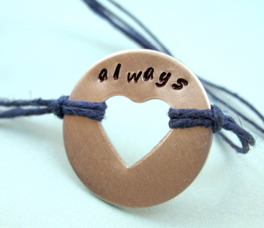 Always - Hand Stamped Heart Washer on Cotton Cord