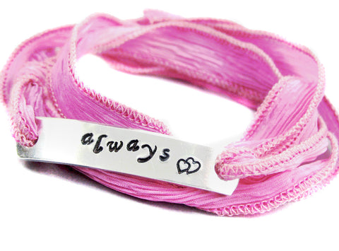 Always - Handstamped Aluminum ID Bracelet on Pink Crinkled Silk Ribbon