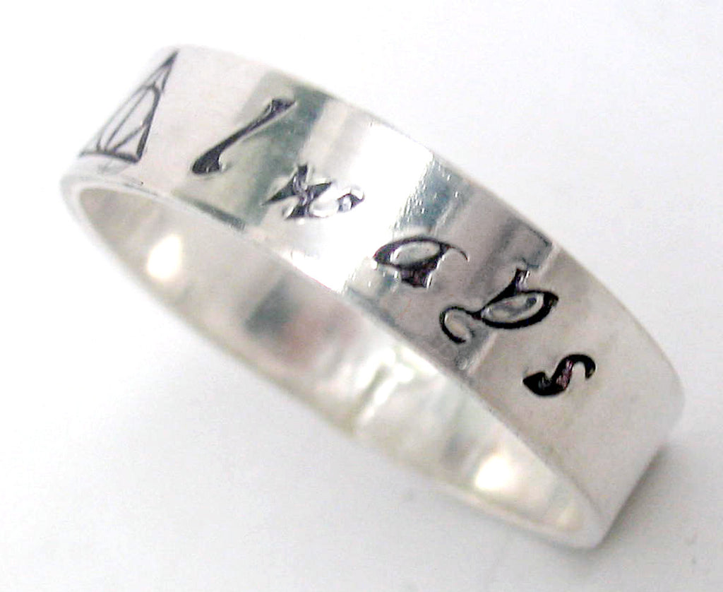 Always Harry Potter Ring Sterling Silver Solid Band With Deathly