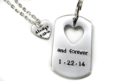 Always and Forever Heart Cutout Keychain/ Heart Necklace Set, Hand Stamped Valentine's Day Jewelry w/ Customizable Dates
