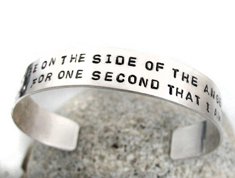 "Sterling Silver Bracelet - Sherlock Inspired, ""Side of the Angels..."" Handstamped Cuff"
