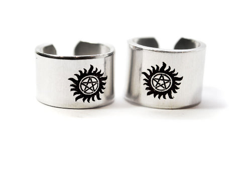 "Bitch/Jerk - Anti Possession Symbol Wide 1/2"" Ring Set - Supernatural Inspired"