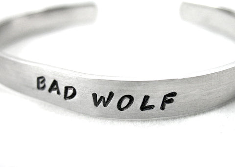 "Bad Wolf - 1/4"" Handstamped Aluminum Bracelet - Doctor Who Inspired"