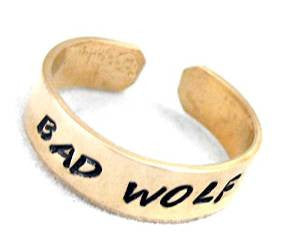 "Bad Wolf - 1/4"" Handstamped Golden Brass Ring - Adjustable - Doctor Who Inspired"