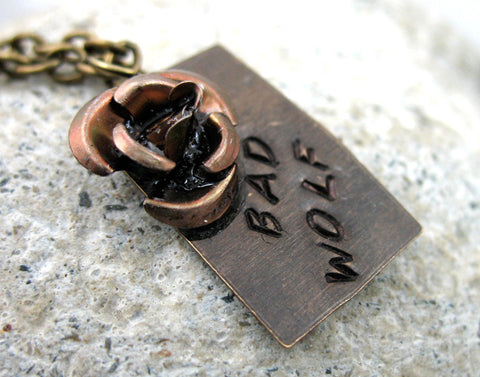 Bad Wolf - Hand Stamped Antiqued Brass Necklace w/Copper Rose, Doctor Who Inspired