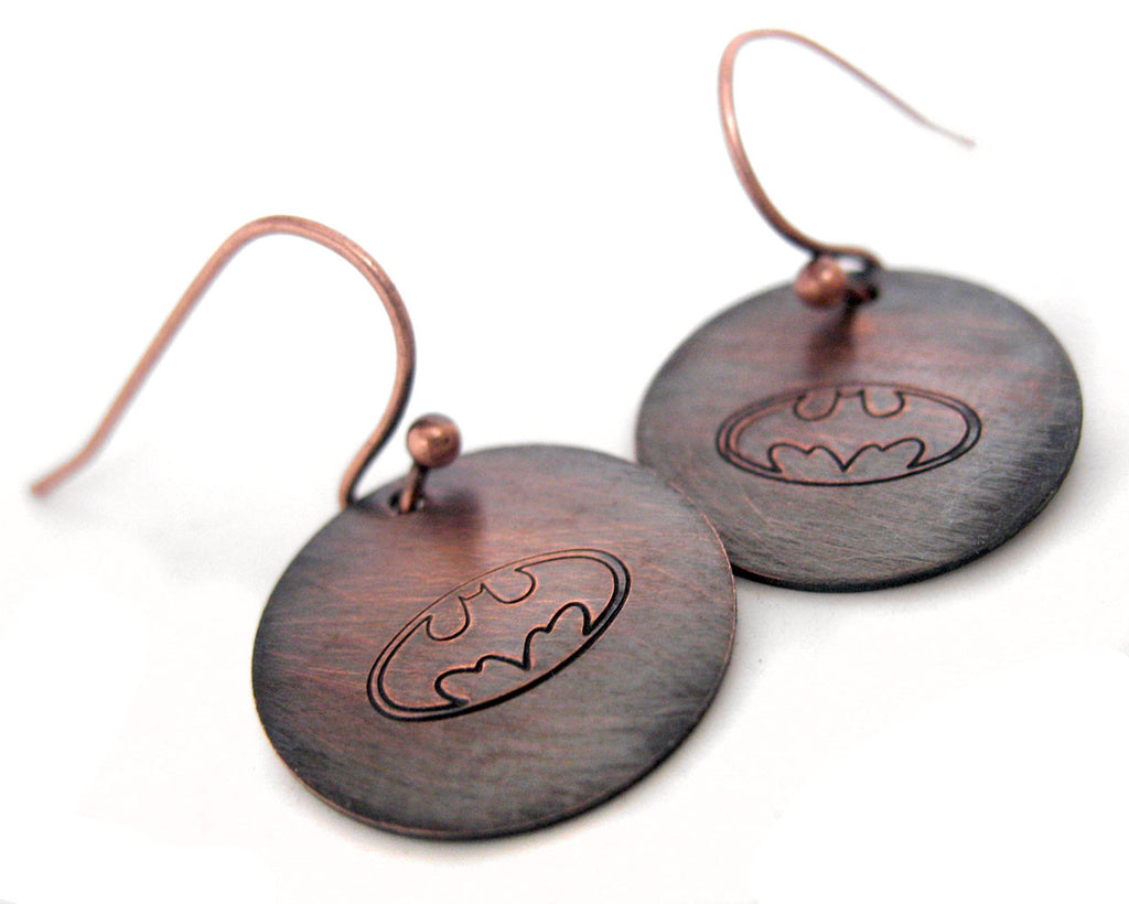 Batman Symbol - Antiqued Copper Earrings