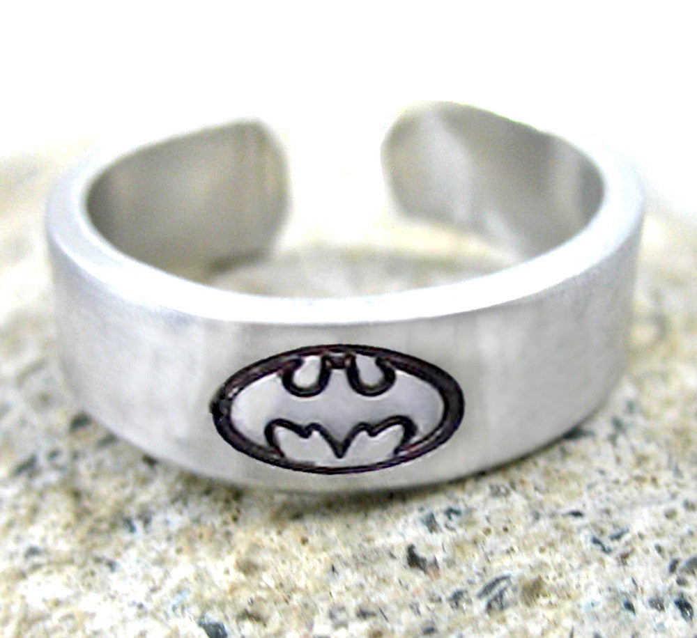 Batman Ring - Hand Stamped, Adjustable Aluminum Ring with Batman Symbol