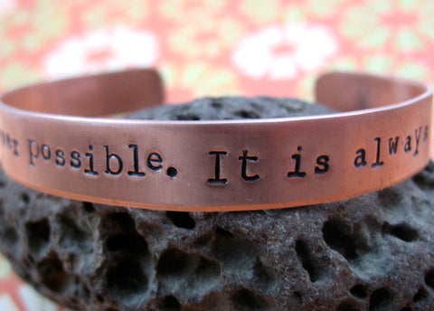 "Bright Copper Custom Bracelet -  1/2"" Wide, Hand Stamped Adjustable Cuff, Up to Two Lines of Text"