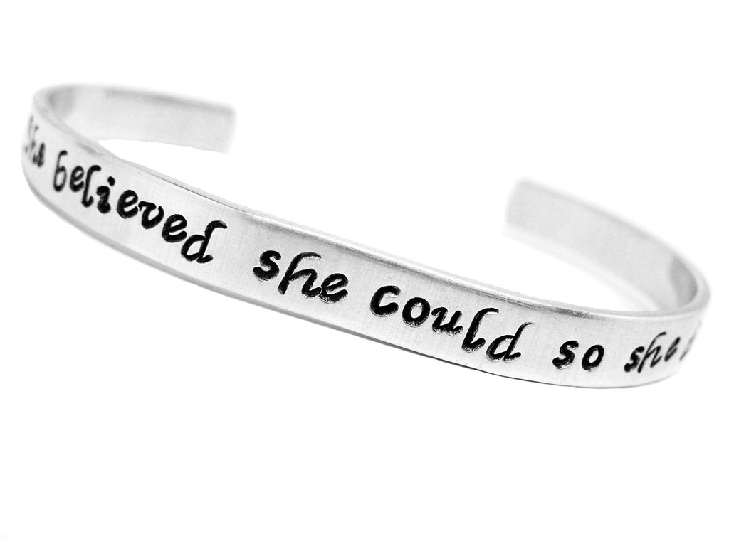 She Believed She Could So She Did - Hand Stamped Aluminum Adjustable Bracelet, Our Most Popular Graduation Gift