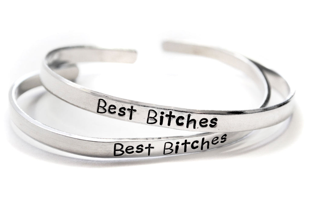 "Best Bitches - 3/16"" Handstamped Aluminum Skinny Stackable Bracelet Pair"