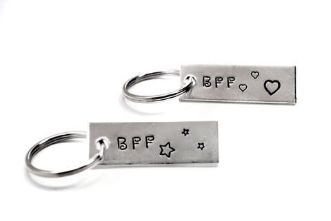 BFF - Hand Stamped Mini Key Chain Set