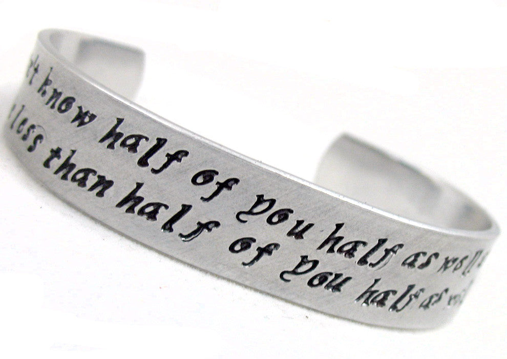 Half Inch Custom Bracelet, Adjustable Aluminum, Hand Stamped