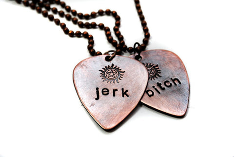 Bitch/Jerk - Supernatural Inspired Hand Stamped Antiqued Copper Guitar Pick Necklaces With Anti Possession Symbol
