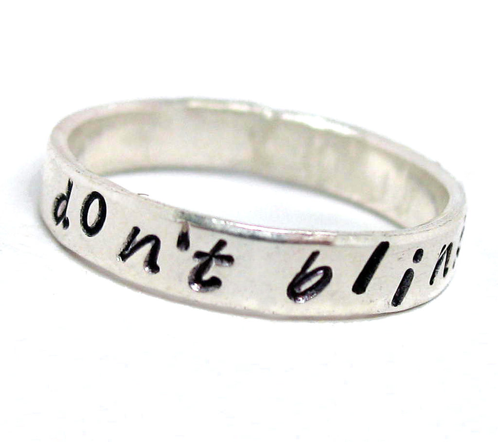 Don't Blink - Doctor Who Inspired, Handstamped Sterling Silver Ring