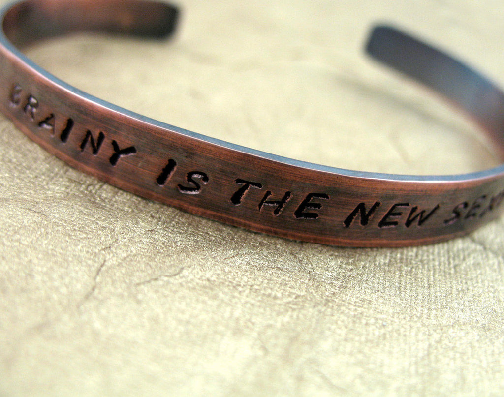 Brainy is the New Sexy - Antiqued Copper Handstamped Bracelet, Sherlock Inspired