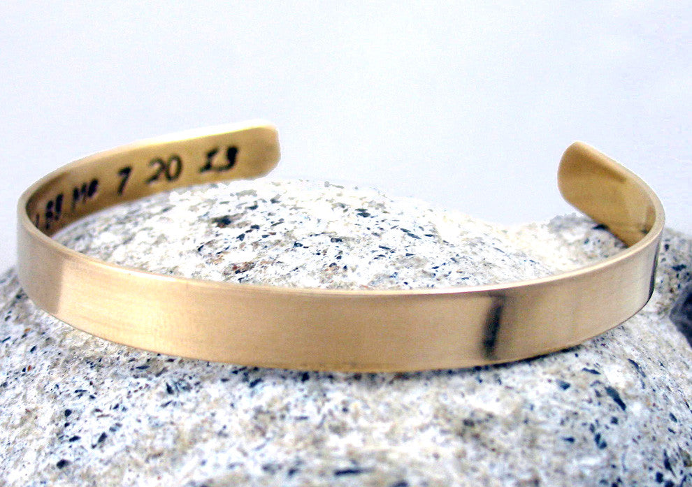 "Customized - Polished Brass 1/4"" Cuff Bracelet, Stamped on Inside, Secret Message Jewelry"