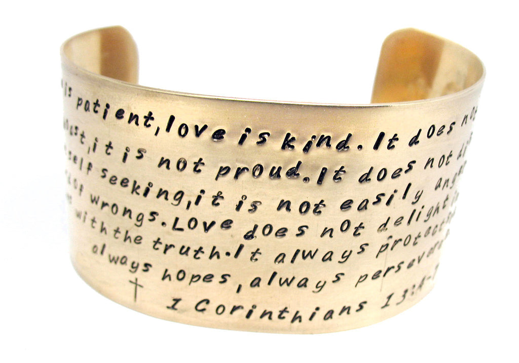 "Love is Patient (Corinthians 13) - 1.5"" Hand-Stamped Brass Cuff"