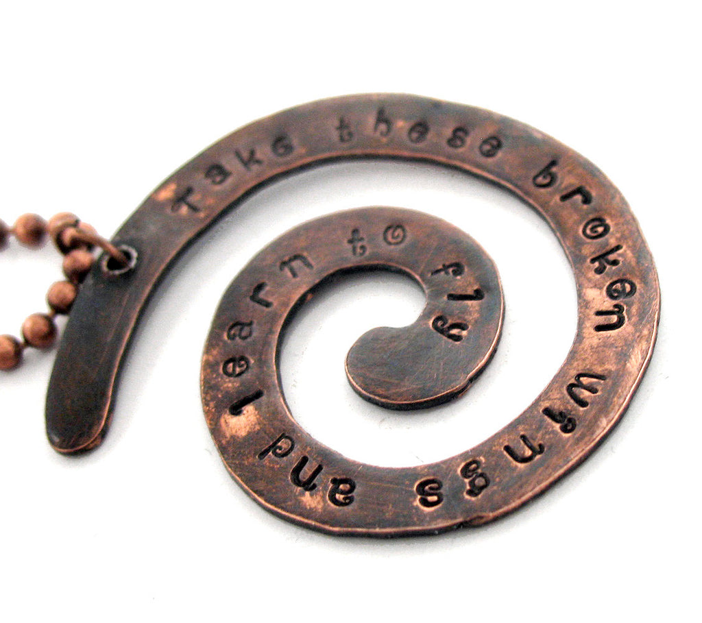 Take These Broken Wings and Learn To Fly - Beatles Blackbird Inspired- Hand Stamped Antiqued Copper Spiral Necklace