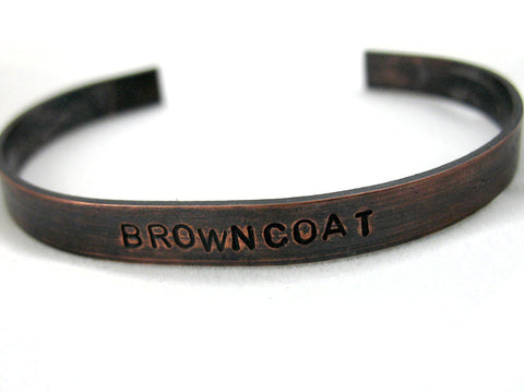 Browncoat - Firefly Inspired Antiqued Copper Bracelet, Handstamped