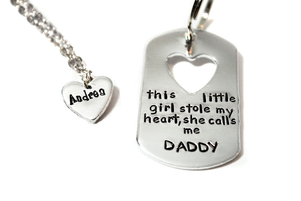 This Little Girl Stole My Heart, She Call Me Daddy Cutout Keychain/ Personalized Name Heart Necklace Set, Hand Stamped Father's Day Jewelry