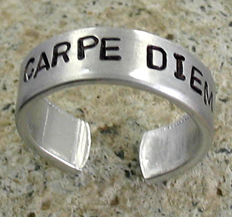 Custom Handstamped Aluminum Ring - Narrow, Adjustable Band