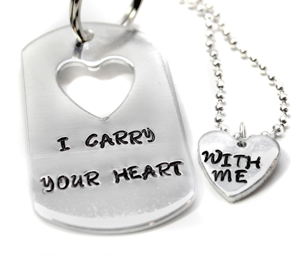I Carry Your Heart With Me Cutout Keychain/ Heart Necklace Set, Hand Stamped Valentine's Day Jewelry