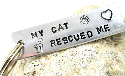 My Cat Rescued Me - Aluminum Keychain