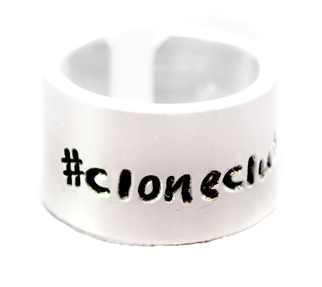 "Orphan Black Inspired- #cloneclub -1/2"" Wide  Hand Stamped Aluminum Ring"