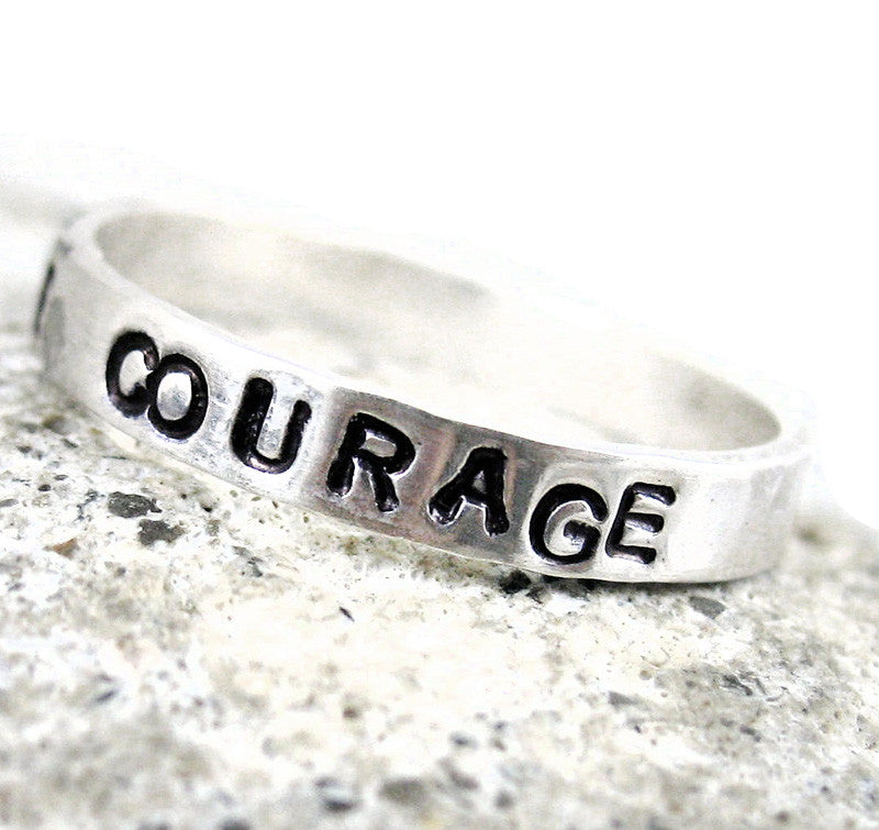 Courage - Hand Stamped Sterling Silver Stacking Ring