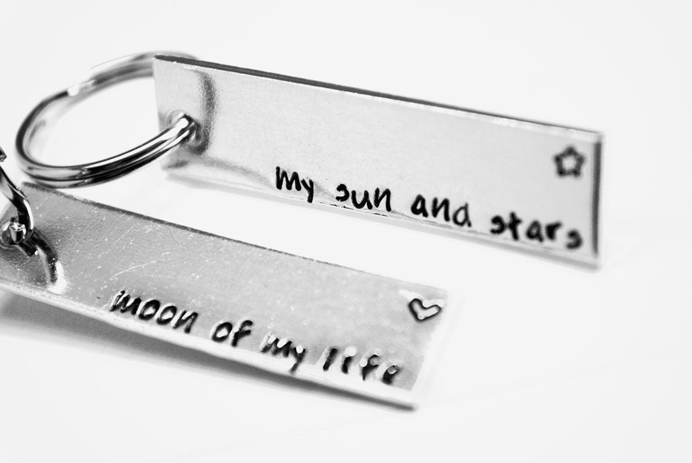 My Sun and Stars/Moon of my Life - Danaerys/Drogo Aluminum Simple Keychain Set - Game of Thrones Inspired - ASOIAF