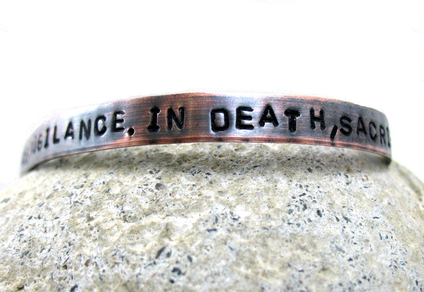 In War, Victory.  In Peace, Vigilance, In Death, Sacrifice - Antiqued Copper Bracelet