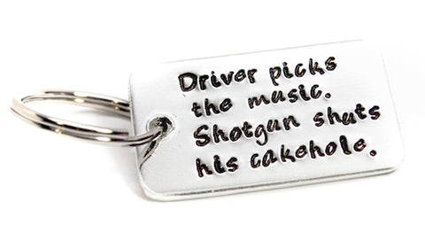"Driver Picks the Music, Shotgun Shutd His Cakehole - Dean Winchester/ Supernatural Inspired Small (1 x1 1/2"") Hand Stamped Aluminum Keychain"