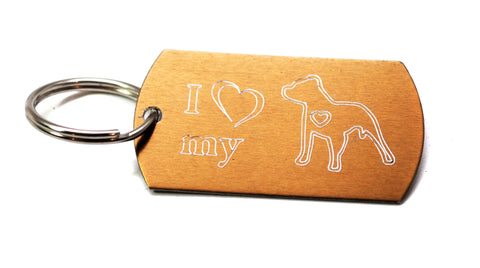 Engraved Keychain - I Love My Pitbull - Comes in a variety of bright colors!