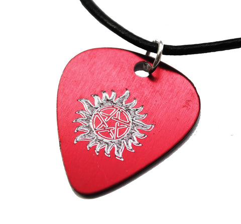 Supernatural Inspired - Engraved Red Guitar Pick With Anti Possession Symbol