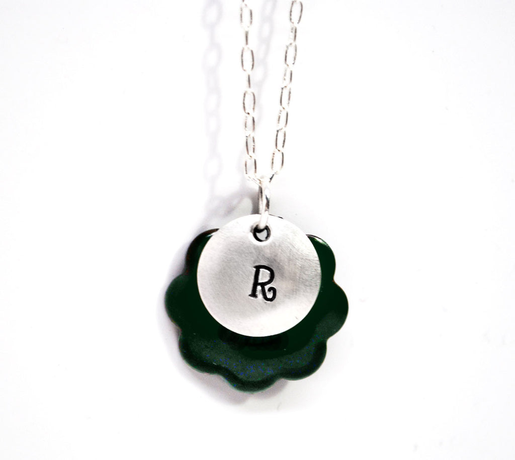 Green Enamel Layered Necklace with Inital Stamped On Domed Sterling Disc - Sterling Link Chain