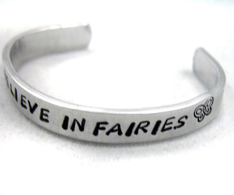 I Believe in Fairies - Aluminum Toddler or Baby Bracelet
