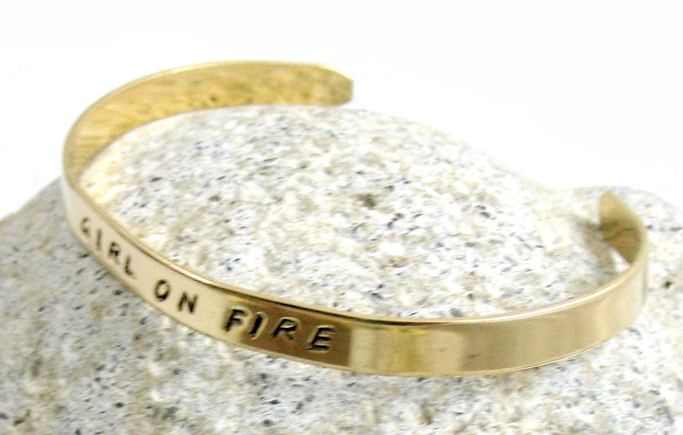 "Custom Stamped Golden Brass 1/4"" Bracelet, Narrow Adjustable Cuff with YOUR Personalized Message"