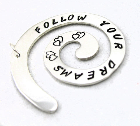 Follow Your Dreams - Sterling Silver Spiral Pendant