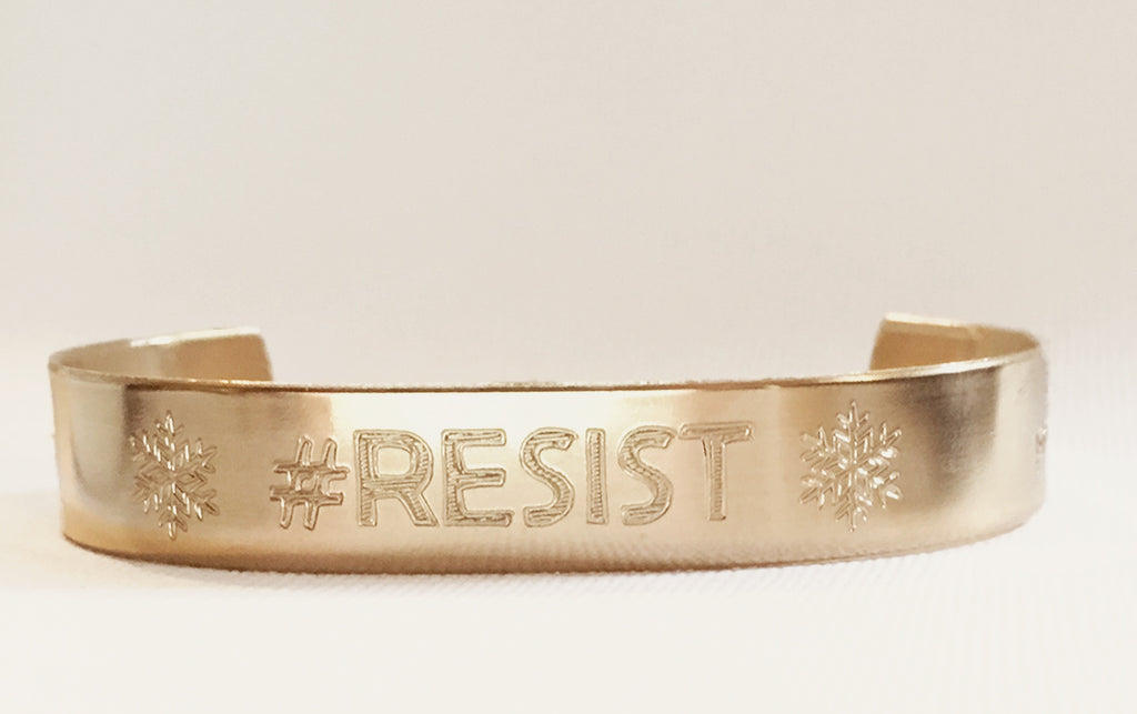 "#RESIST - ProLeftPod.com Customized Golden Brass Bracelet, 1/2"" Wide - Engraved or Hand Stamped"